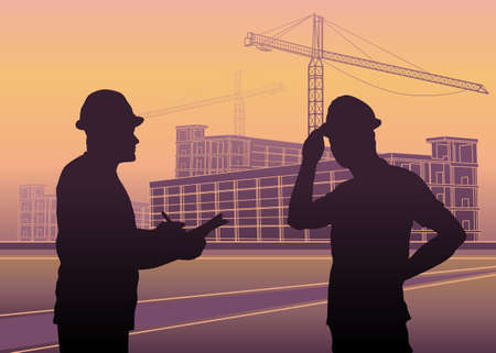 construction projects: illustration of Workers silhouettes, construction Industry