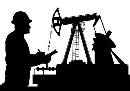 労働者とオイルポンプのシルエットは、石油業界の図  イラスト・ベクター素材