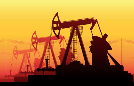 chink: illustration of Working Oil Pumps and Drilling Rig, Oil Pump