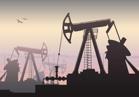 oilwell: illustration of Working Oil Pumps and Drilling Rig, Oil Pump, Petroleum Industry