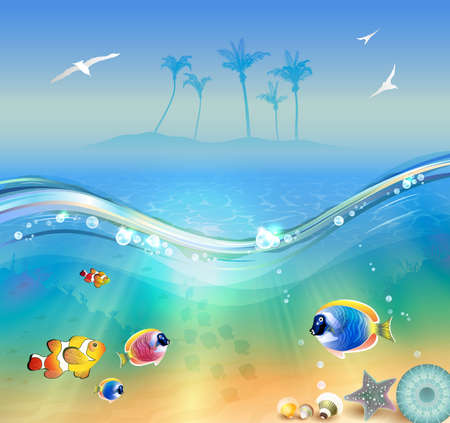 wildlife: illustration of the tropical beach, underwater and wildlife Illustration