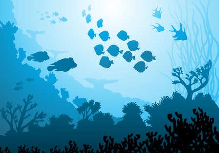 moray: Sea underwater world with different animals Illustration