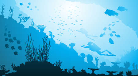 illustration of Underwater diving and marine life