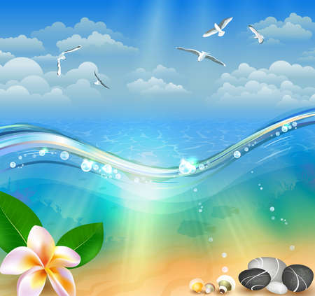 rays: Summer Seascape illustration Illustration