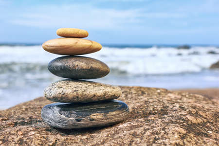 Zen Balancing Pebbles Sea Peaceful Concept