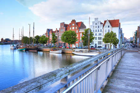 german north sea region: Historic old town luebeck at the river trave