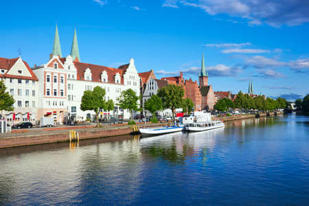 trave: Historic old town Luebeck at the river trave, summer day Stock Photo