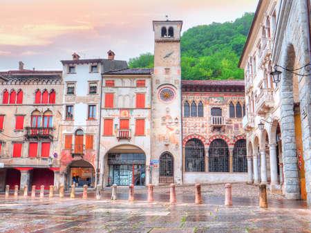 Piazza Marc Antonio Flaminio in Serravalle, Vittorio Veneto. Treviso - Italy 스톡 콘텐츠