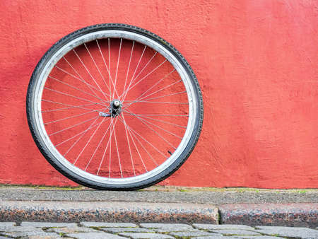 bike wheel on a wall texture