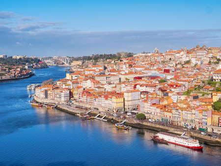 Cityscape of old Porto and Vila Nova de Gaia architecture