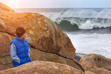 Mature Woman On storm Beach 版權商用圖片 - 101450844