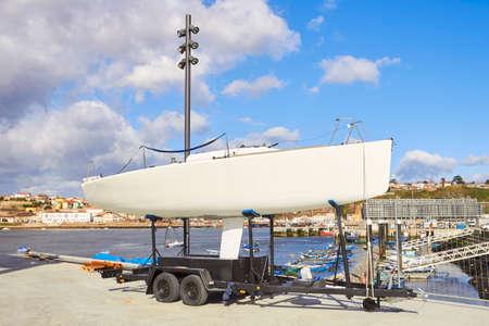 Repair pier. Boat in shipyard for repair