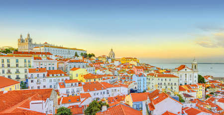 Old Lisbon town panoramic view at sunset. Portugal. Stockfoto
