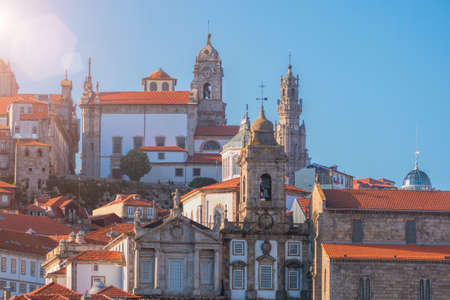 View on Traditional beautiful houses and cathedrals in old Porto city