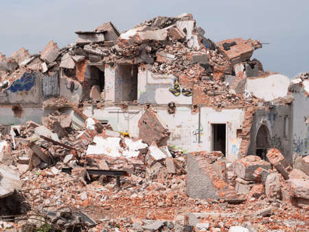 Old building ruins. Disaster or destroying concept Stockfoto
