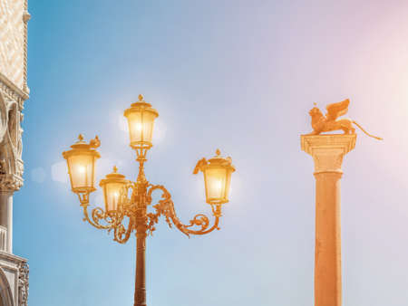 Old street lamp on San Marco square
