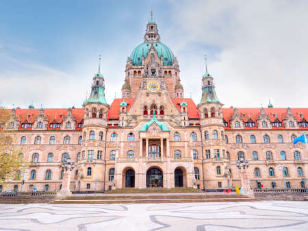Beautiful New Town Hall Neues Rathaus front view. Hanower. Germany Stockfoto
