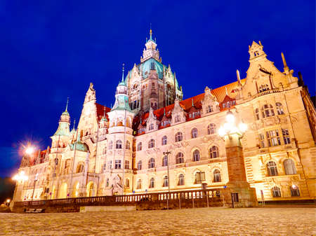 New Town Hall Neues Rathaus with lights at night view