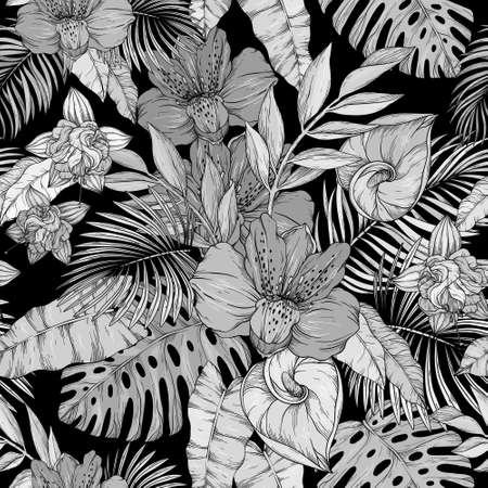 Seamless pattern with monochrome flowers on black background Vetores