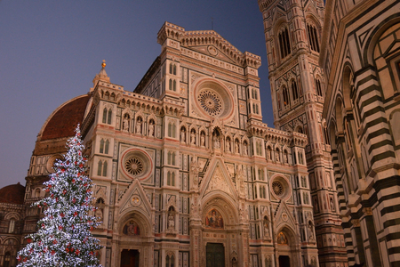 Christmas tree and Santa Maria del fiore in florence italy