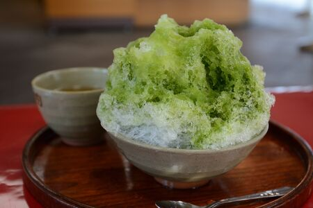 Shaved ice with matcha green tea syrup