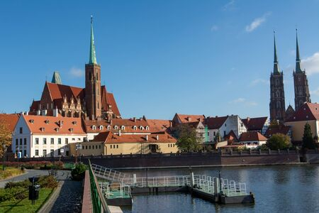 Church and Oder river - Wroclaw, Poland
