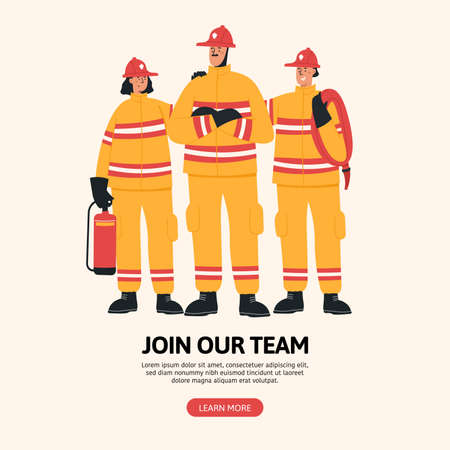 Firefighter profession landing page vector template. Rescuer team website interface idea with flat illustrations. Firefighting department homepage layout. Web banner, webpage cartoon concept