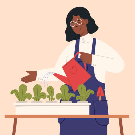 Urban home garden. Young woman living in city cultivating plants, growing crops or vegetables in pots at home. Vector illustration