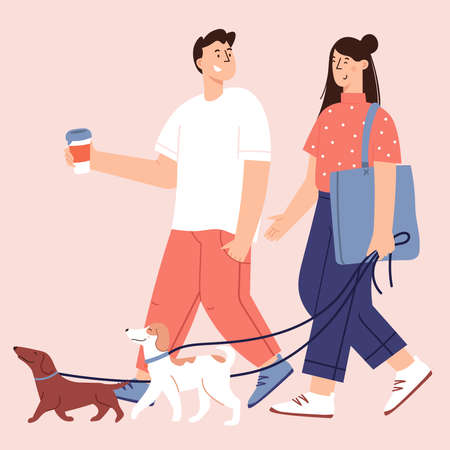 Flat Cartoon Vector Illustration about Human and dogs friendship