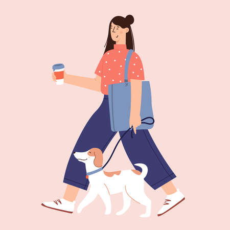 Flat Cartoon Vector Illustration about Human and dogs friendship 일러스트