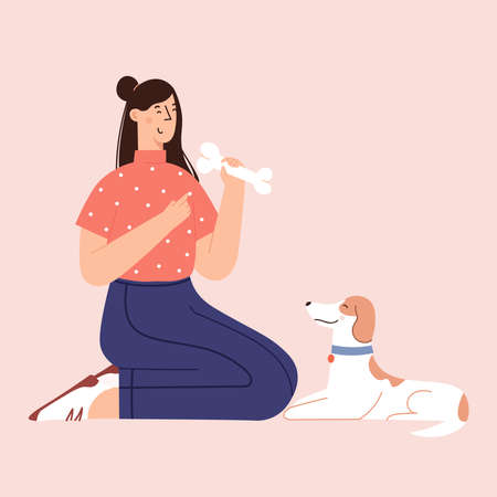 Human and puppy friendship flat cartoon illustration in vector.