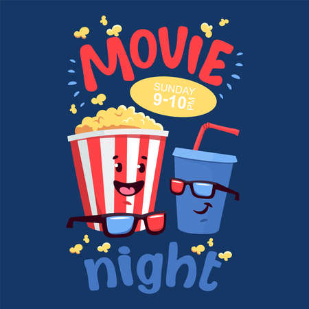 Flat illustration with cartoon movie popcorn and soda