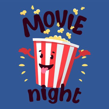 Flat illustration cinema tickets with cartoon movie popcorn and soda
