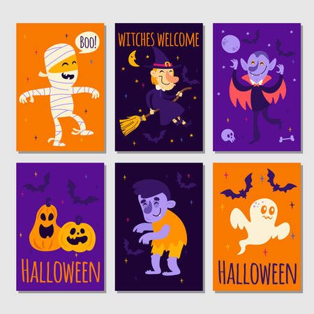 Set of cartoon Halloween posters or cards Vector Illustration