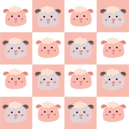 Cute seamless pattern with cute animals for baby clothes Illustration