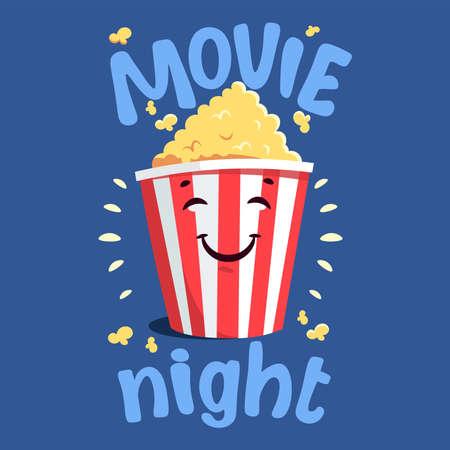 Flat modern illustration with cartoon movie popcorn