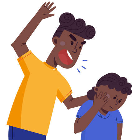 A father beats his children. The concept of violence and abuse in the family. Flat illustration in cartoon style. Illustration