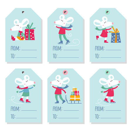 Set of six holiday Christmas tags with cartoon white mouse stock illustration