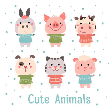 Hand drawn characters goat pig cow sheep cat dog