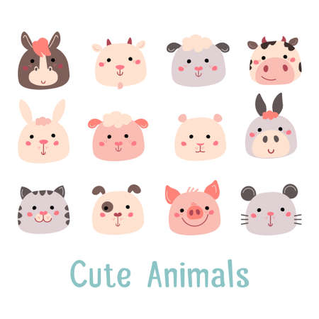 Hand drawn characters goat pig cow sheep cat dog mouse rabbit hamster donkey.