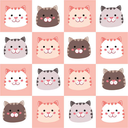Seamless pattern with cute color cats for baby clothes or fabric