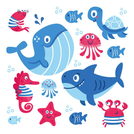 Set of sea animals fish shark whale jellyfish star seahorse crab turtle. Illustration for clothes anniversary birthday party invitations scrapbooking cards and sticker Ilustración de vector