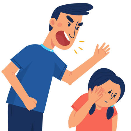 A father beats his children. The concept of violence and abuse in the family. Flat illustration in cartoon style. Иллюстрация