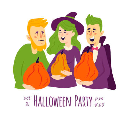 Halloween invitation with people in different carnival costumes