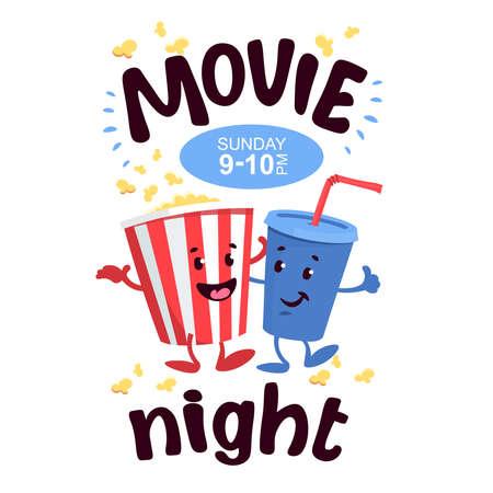 Cartoon popcorn striped bucket with plastic cup of soda banner or poster Ilustração