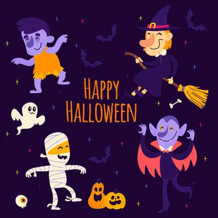 Halloween stickers mummy, witch, vampire, ghost, pumpkin, bat, zombie
