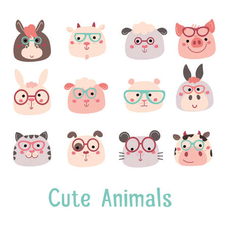 Cute childish animals great for baby clothes, cards, invitations, baby clothes, posters and prints