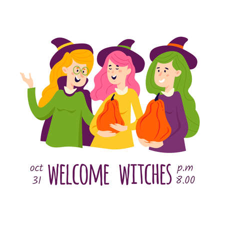 Halloween invitation with people in different carnival costumes.