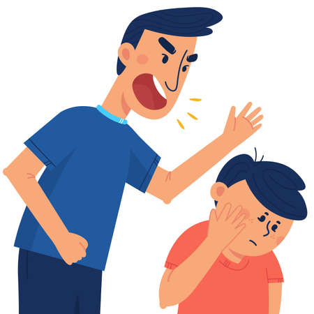 A father beats his children. The concept of violence and abuse in the family. Flat illustration in cartoon style. Stock Illustratie