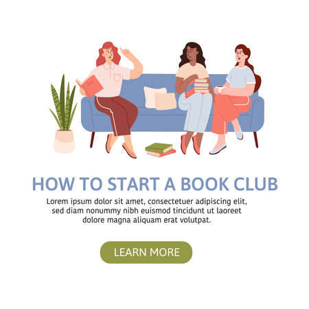 Group of woman sitting on sofa and listening to girl reading book. Books lover club vector landing page Иллюстрация